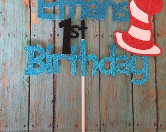 Cat in the hat Birthday cake topper,custom,Cat N' the hat,Dr Suess,Name cake topper,birthday,cake topper,boys,hat,cats hat, 1-Ct