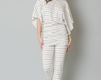 The Aphrodite  White & Grey Stripe