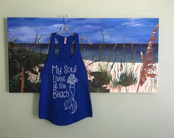 4th July, Beach cover up, Tank mermaid, 4th of July, Beach shirt, gift for her, travel, tank tops, shirt, mermaid shirt, mermaid tank, blue