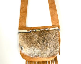 Ready To Ship Handmade Leather Fringe Purse, Suede Fur Purse, handmade purse, leather and fur bag, made in Canada, Music Festivals