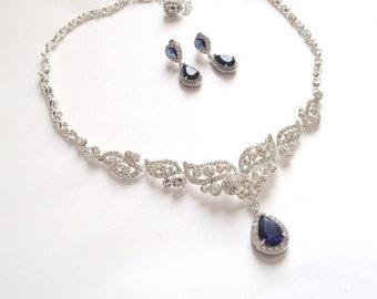 Bridal necklace etsy saphire blue bridal necklace blue crystal wedding necklace blue bridal jewelry blue wedding junglespirit Images