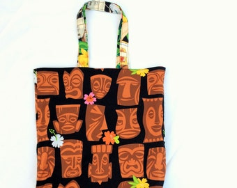 Reversible tote bag, Hawaiian fabric, pin up girl, tiki head, Alexander Henry,  Kawaii bag, rockabilly fabric, made in Scotland, tiki bar
