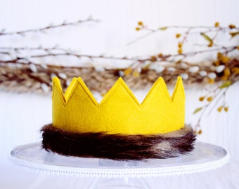 Where the Wild Things Are Full Felt Crown || Max Birthday Hat with Ribbon Tie Back || Cake Smash Kids Birthday Gift || Mustard with Fur