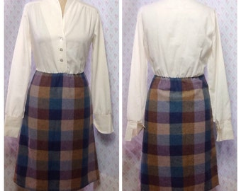 Lovely Sears Vintage 1970's plaid wool mix secretary dress/preppy/career with built in blouse.