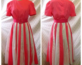 Amazing 1980's lolly pink and white cotton mix striped rockabilly 50's style /pin up/ Australian vintage.