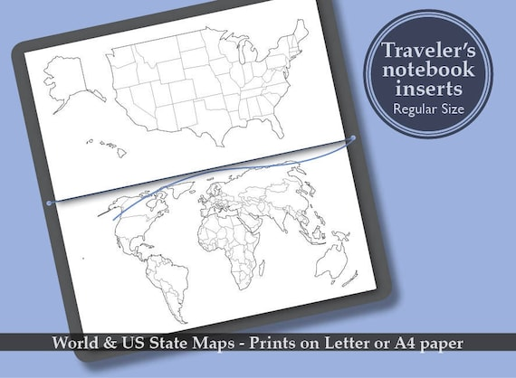 Printable world us state map bullet journal midori printable world us state map bullet journal midori travelers notebook regular size book insert refills sciox Images