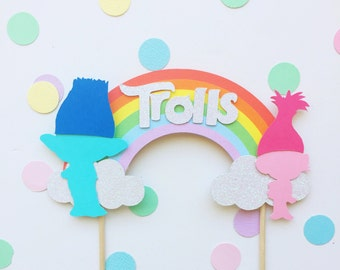 Troll rainbow cake topper