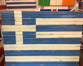 Large Handcrafted Wood Greek Flag