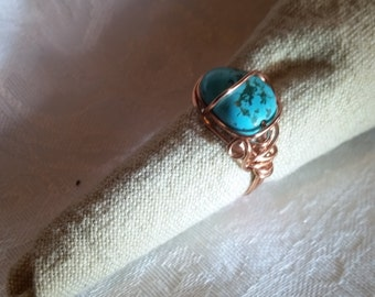 Copper Wire Wrapped Turquoise Stone Ring