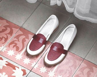 White & Marsala Leather Loafers - Handmade Leather Shoes - Comfortable Shoes - Womens Shoes - Rounded Toe - Textured Leather