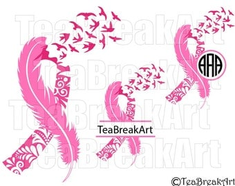 Breast Cancer Awareness zentangle feather bird flying frames Cutting Files SVG PNG EPS dxf ClipArt iron on heat transfer shirt decal 659C