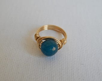Gold wire wrapped teal agate ring, boho style, everyday ring, festival chic jewelry, gold wire, faceted crystal ring, neutral
