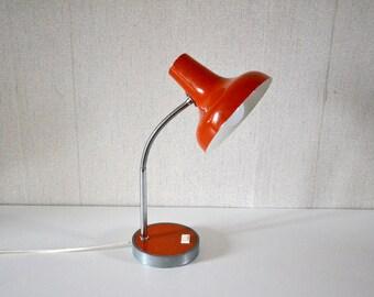 Vintage Orange Lamp / 70's desk lamp / flexible arm
