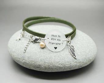 """bracelet similicuir métallisé kaki cabochon """"Veux tu être ma Marraine?"""" ange - bracelet personnalisable - godmother gift"""