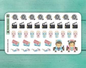 38 Movie Cinema Stickers / Planner Stickers