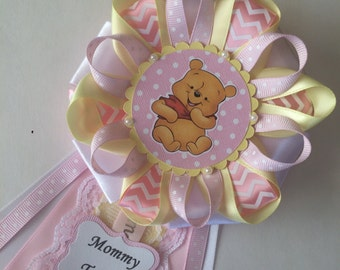 Winnie the Pooh Baby Girl baby shower corsage/Winnie the Pooh pink and yellow baby shower corsage/Winnie the Pooh Mommy to be corsage