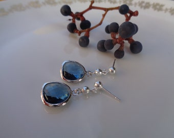Earrings, 925 Silver, Crystal, blue sparkling