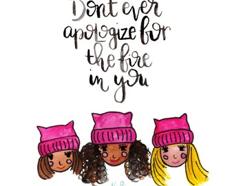 Print of Womens march motivational art from original watercolor and gouache painting   Pink   Girl Power   Wall Art   Home Decor