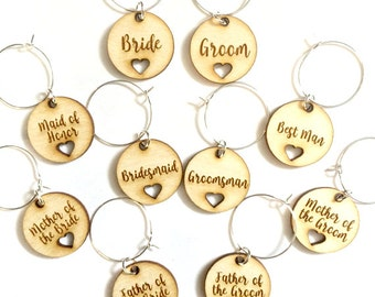 Wedding wine charms for wedding attendants from wood (set of 18)