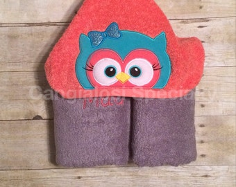 Owl Hooded Towel/ Baby/Kids/Adult/Baby Shower/Birthday/Christmas/Gift/Bath/Pool/Towel/Summer/Easter/Party/Favor/Idea/Theme/Girl/Whoo/Beach