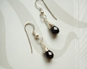Black Onyx teardrop earrings Sterling Silver - wire wrapped - February Birthstone jewellery gift