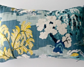12x18 pillow cover, Asian pillow cover, teal pillow cover lumbar, chinoiserie pillow, toile pillows, Asian decor, pillow cover 12 x 18