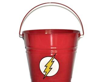 The Flash Superhero - The Flash Bucket- Personalized Easter Basket - Custom Personalized Metal Easter Bucket - SuperHero Easter