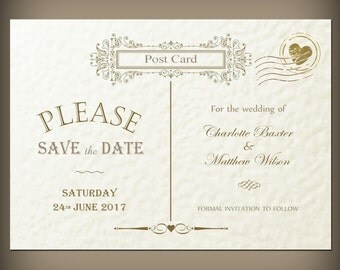 10 Vintage save the date cards with envelopes, Victorian postcard design, Personalised.