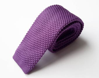 Purple Knit Neck Tie, Men's Neck Tie
