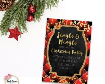 Jingle and Mingle Christmas Holiday Party Invitation Printable Faux Gold Foil Red Plaid Confetti