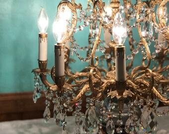 SOLD- Vintage Crystal Chandelier Lighting French Birdcage gold gilt, vintage Swarovski crystals from Schonbek chandeliers