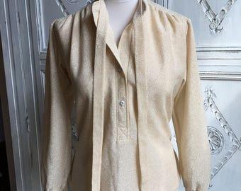 Vintage Elsie Whitely Blouse 1960s - Ivory/Silver Metallic Size 14