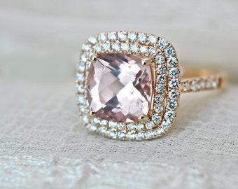 3.40 Ct. Cushion Cut Morganite & Diamond Double Halo Engagement Ring on 14K Rose Gold