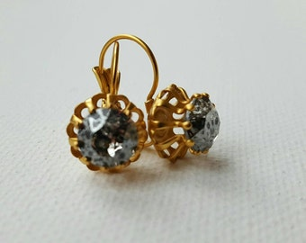 Swarovski elements crystal dangling earrings in gold setting, Victorian gold earrings,18th century jewelry,bridal earrings,bridesmaids gift
