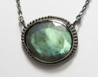 Faceted Labradorite Pendant In Sterling Silver Madagascar - 925 Sterling Silver Black Oxidised Finish