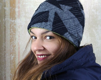 upcycling fulled loden beanie - black and grey