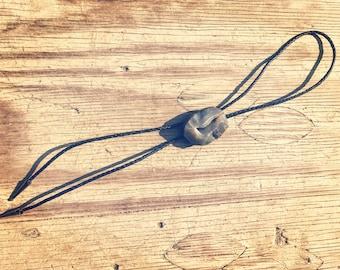The Cash Bolo - braided leather cording with a Black Labradorite druzy on a bolo slide.  *Standard Bolo size*