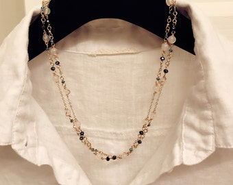 SALE Multi-style handmade white agate long crystal beaded necklace with 14k gold filled chain