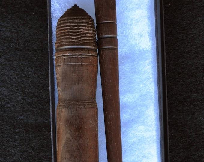 Hand made from dark walnut wood stitch lay helper tool plus needle case