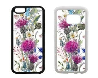 Samsung Galaxy Rubber Case S8 Plus, S7 S6 Edge, S5 S4 Note 5, iPhone 8 7 6S 6 Plus X SE 5C 5S 5 4S Scottish Thistle floral phone cover. R279