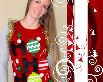 Ugly Christmas  Sweater Vest-  Womens Sweater - Ugly xmas Sweater Party-  HO HO HO