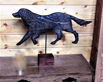 Folk art weather vane carved wood dog retriever signed artist SR Tyler Primitive carving realistic Irish Setter