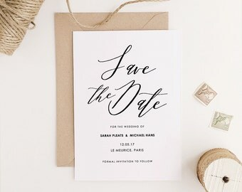 Save the Date Template, Printable Save the Date, Olive Wedding, Rustic Wedding | Edit in Word or Pages