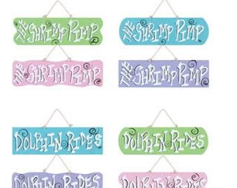 Sale!!! DOLPHIN- SHRIMP & MERMAIDS Sign's - Set of 12/Wreath Supplies/Nautical-Beach Decor/35285