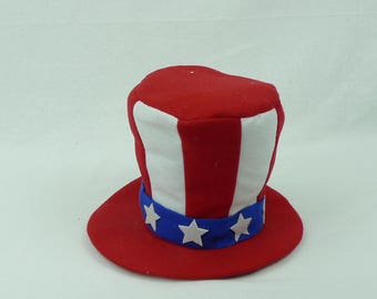 "6"" Red-White & Blue Plush Top Hat/ Patriotic Top Hat/Wreath Supplies/Fourth of July Decor/74070RWB"