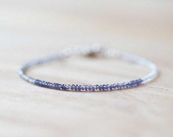Ultra Delicate Iolite, Rainbow Moonstone & Labradorite Bracelet, Multi Gemstone Skinny Stacking Bracelet, Iolite Bracelet, Moonstone Jewelry