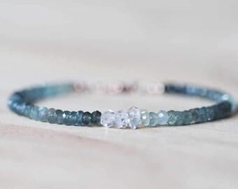 Moss Aquamarine Bracelet with Herkimer Diamonds, Delicate Quartz Crystal Jewelry, Beaded Shaded Moss Aquamarine Jewelry, Sterling Silver