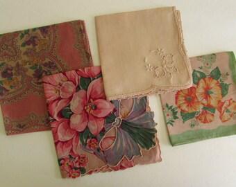 Vintage Hankie Lot - Cutters - Tea Dyed - 4