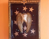 SALE CLEARANCE Art Teeth Tooth Fairy Small Wall Shadow box OOAK Diorama Stars Blue And Silver Dentist Gift