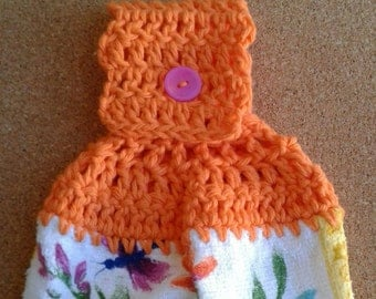 Orange Crochet Top with Flowers and Butterflies Live the Dream Hanging Dish Kitchen Towel